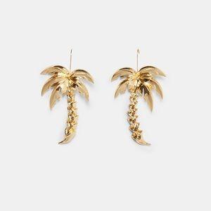 GORGEOUS ZARA NWT Golden Palm Trees Earrings
